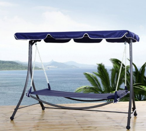 Outsunny Patio Swing set Hammock Outdoor Hanging Sleeping Bed Daybed with Canopy and Pillow Blue, Outdoor Patio Swings, Outdoor Furniture, Swings, Outdoor Swings, Gliders, Wicker Outdoor Patio Swings, Wood Outdoor Patio Swings, Wicker Patio Swings, Wood Outdoor Patio Swings,
