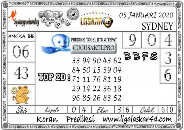 Prediksi Togel SYDNEY LASKAR4D 05 JANUARI 2020
