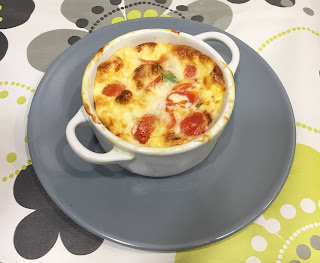 Clafoutis de tomates cherry, queso y espinacas