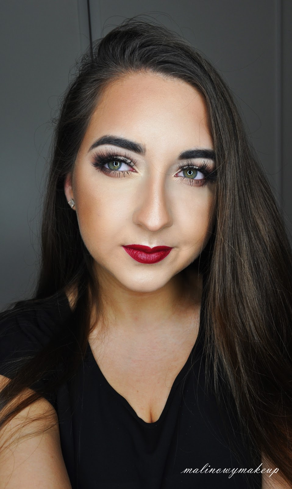 instagram glamurous makeup insta glam makeup red lips smoky eyes bordowe smoky isadora konturowanie