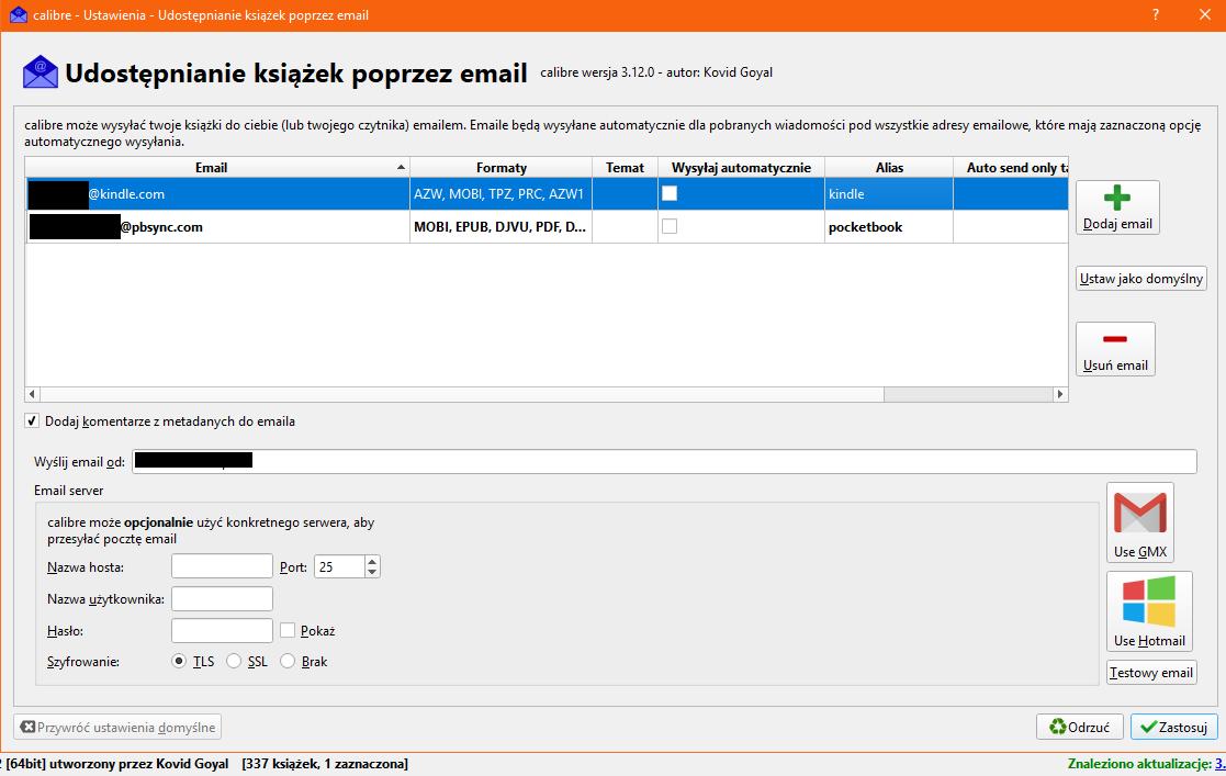 Ustawienia wysyłki e-booków przez e-mail w programie Calibre