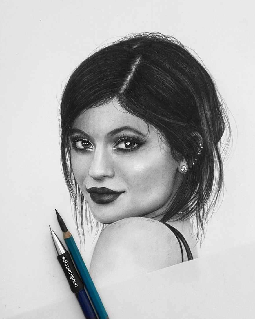 11-Kylie-Jenner-dhruvmignon-Celebrity-Miniature-Black-and-White-Pencil-Portraits-www-designstack-co