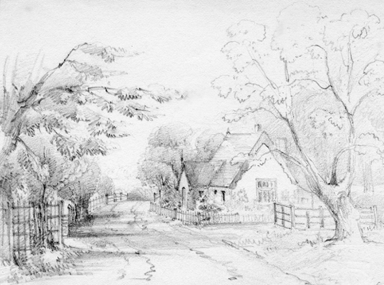Sketch of Water End School, 1847