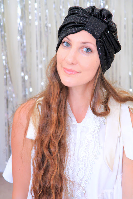 Sequin Turban in Black by Mademoiselle Mermaid