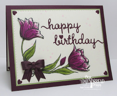 ODBD Tulip Corner, ODBD Custom Happy Birthday Script Die, ODBD Custom Umbrellas Dies, ODBD Custom Double Stitched Rectangles Dies, Card Designer Angie Crockett