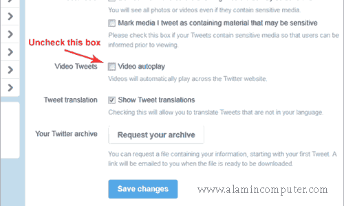 how to disable autoplay videos in twitter