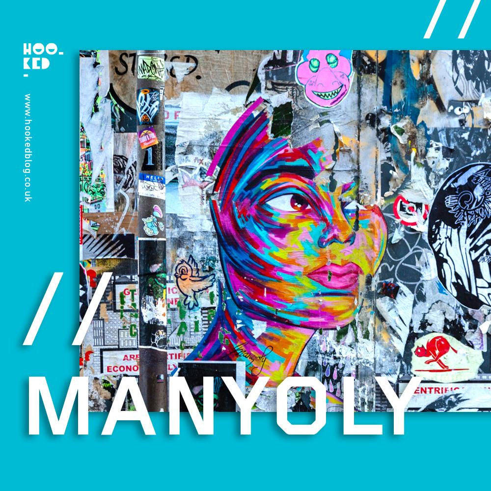 French Street Artist Manyoly vibrant street art portrait