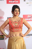 Harshika Ponnacha in orange blouuse brown skirt at Mirchi Music Awards South 2017 ~  Exclusive Celebrities Galleries 034.JPG