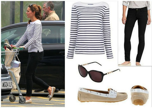 Catherine, Duchess of Cambridge Ralph Lauren Top, Givenchy Sunglasses, Sebago Shoes and Paige Denim Jeans