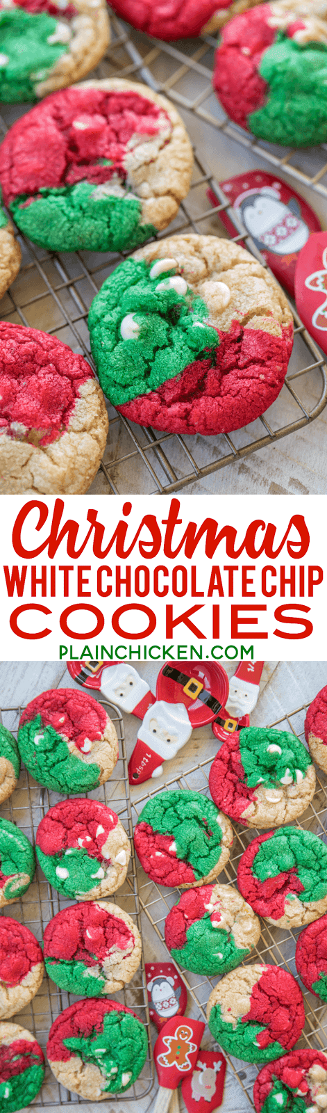 Christmas White Chocolate Chip Cookies Plain Chicken