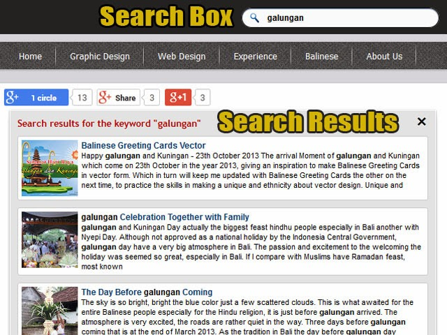 quick search json on blog posts own search box