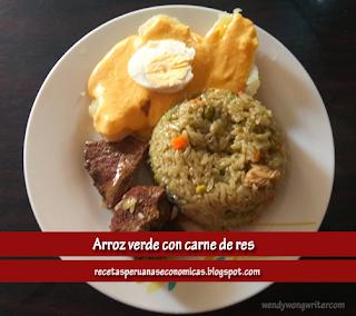 arroz con pollo de carne - arroz verde con carne de res - receta peruana