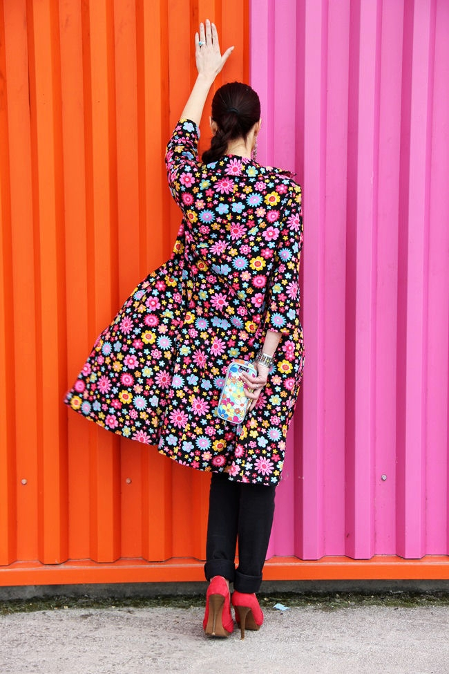 vibrant chic black coat jacket with colorful floral print