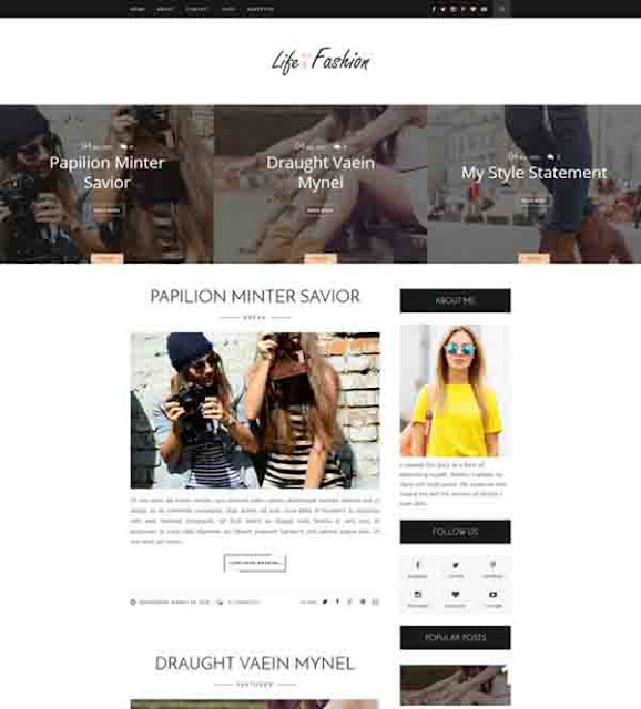 Life fashion Blogger Template Free Download