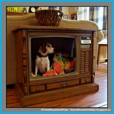 Turn Your Grandparents Old Console TV Into A Indoor Dog House Bed