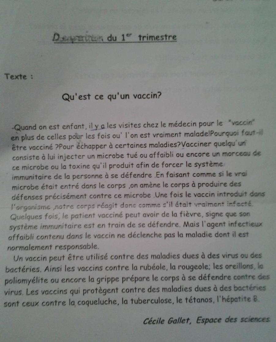 premier examen en français