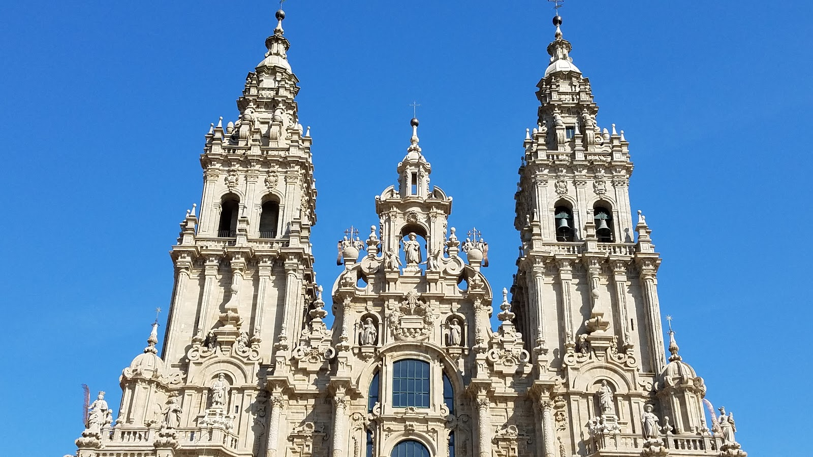 At top center is one of many statues of Santiago that adorn the cathedral. Below him, a star, symbolic of the stars that once led a hermit to discover the Saint's relics over a 1,000 years ago.