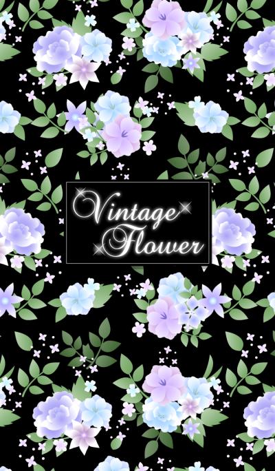 Vintage flower-Blue & black-