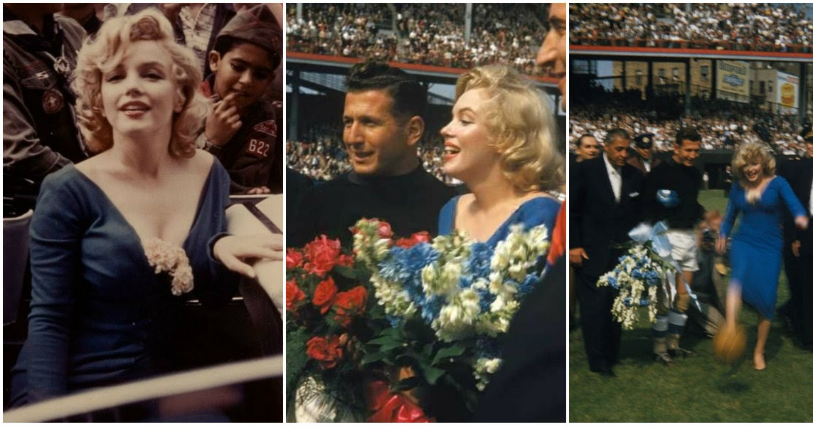 36 Candid Photographs Capture Marilyn Monroe at an All-Star Soccer Game in Ebbets Field, New York, 1957