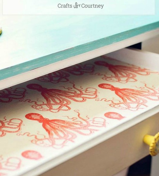 Coastal Fabric Lining for Drawers