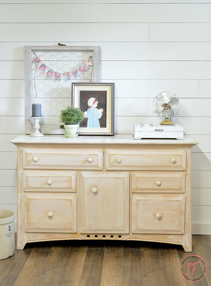 White Sideboard Buffet After Whitewashed