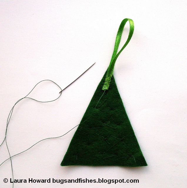 adding a ribbon loop to a felt Christmas tree decoration