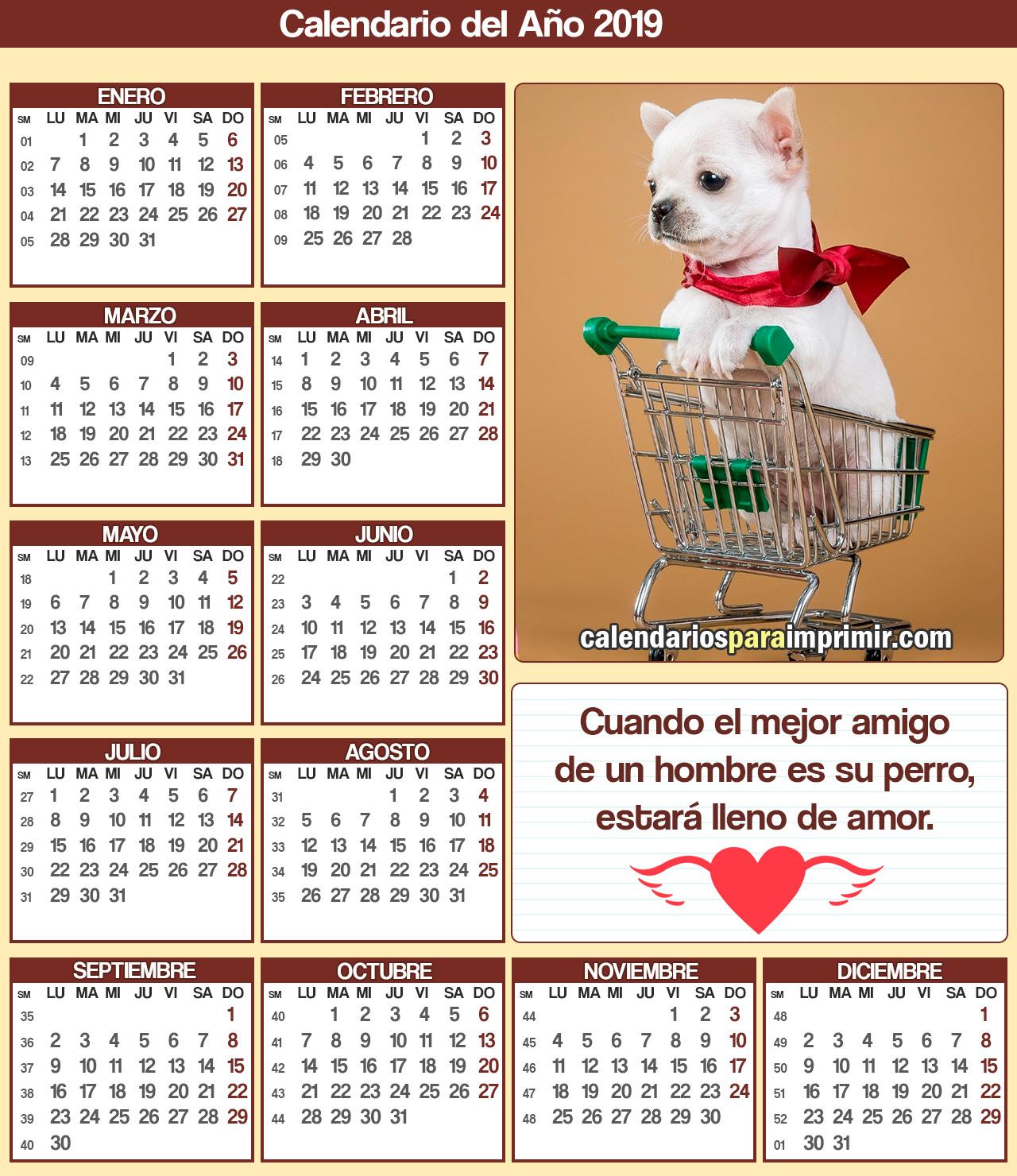 calendario para imprimir mascotas 2019