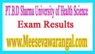 PT.B.D Sharma University of Health Science MBBS 3rd Prof Part-2 Annual Nov 2016 Exam Results