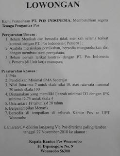 Lowongan Kerja BUMN Terbaru Pos Indonesia (Persero) Tingkat SMA D3