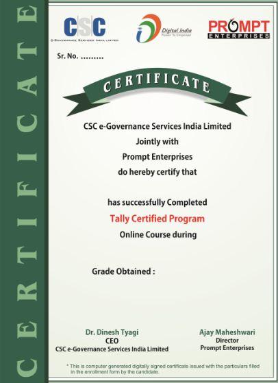 Digital India : Tally Certification Program. Online Computer Tally ...
