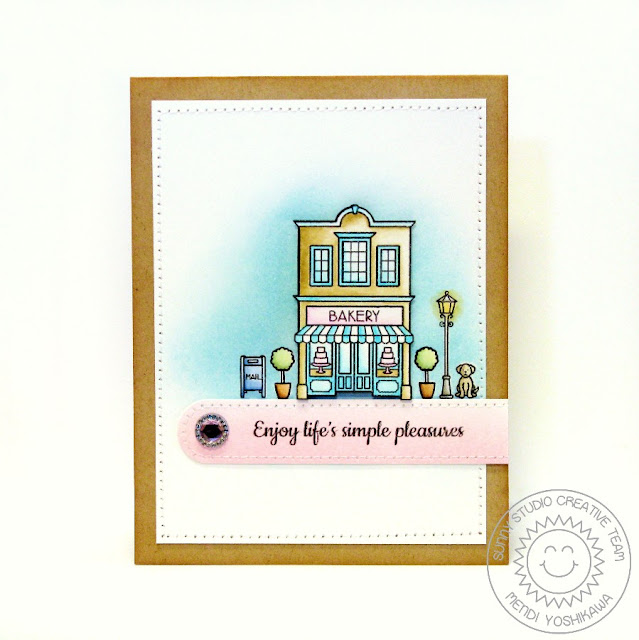Sunny Studio Stamps: City Streets Enjoy Life's Simple Pleasures Card by Mendi Yoshikawa
