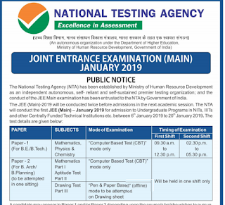 NTA JEE Joint Entrance Exam Notification 2018 Exam Syllabus