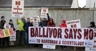 Protesters in Ballivor, Co Meath, opposing a new Scientology-linked drug treatment centre in the village. Photograph: Eamonn Farrell/RollingNews.ie