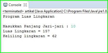 Program Java - Menghitung Luas Dan Keliling Lingkaran Pada Java