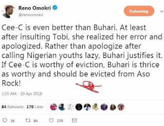 Cee-C is better than Buhari - Reno Omokri