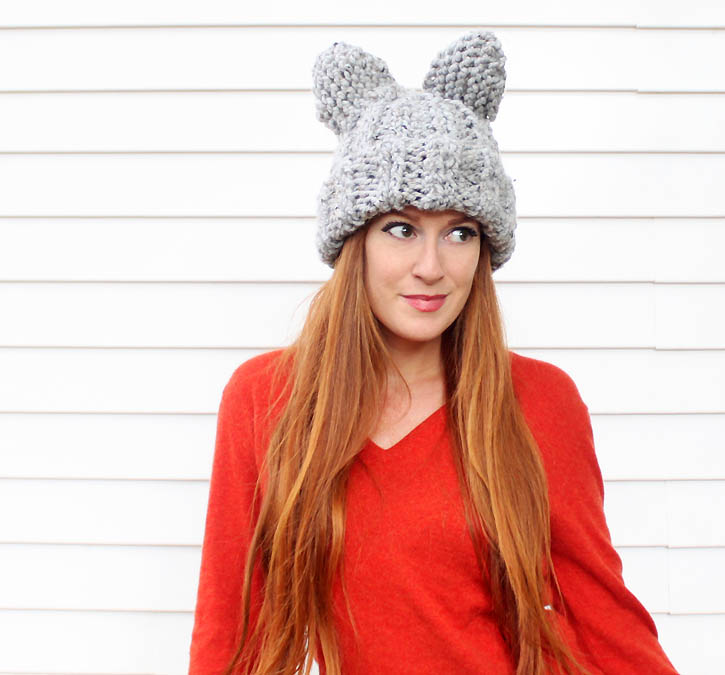Knit Hat With Animal Ears Pattern : Cat Ear Hat [knitting pattern] - Gina Michele