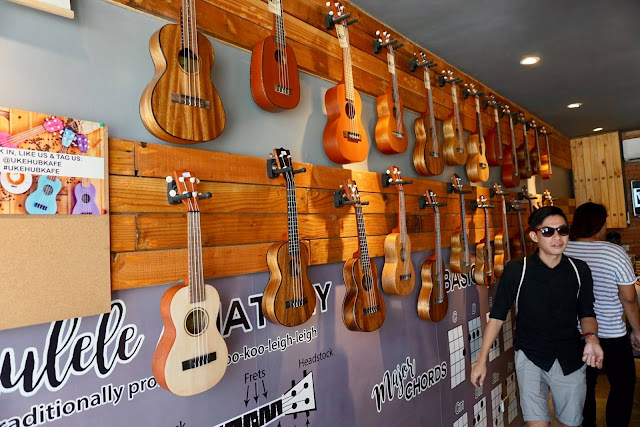 Ukuleles on display at the Ukehub Kafe on Mactan Island