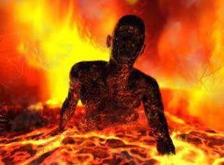 man burning in hell