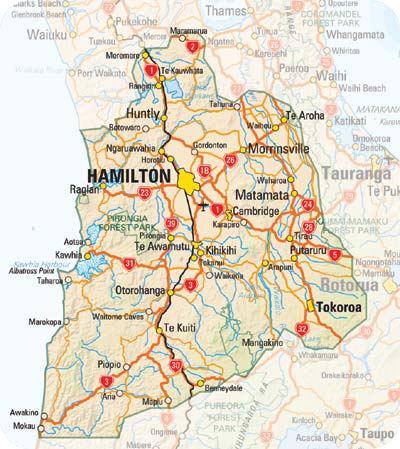 Hamilton New Zealand Map.Hamilton Waikato Map Regional City Political Map Of New Zealand