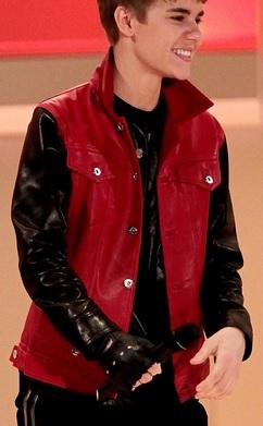 Gambar Model Jaket Kulit Justin Bieber Kombinasi Merah Hitam
