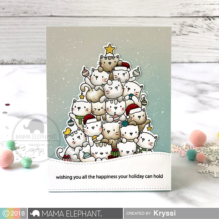 ME Supplies Used Oh Kitty Tree Stamps And Dies Available 9 15 2018 On The Hills Merry Christmas Wishes