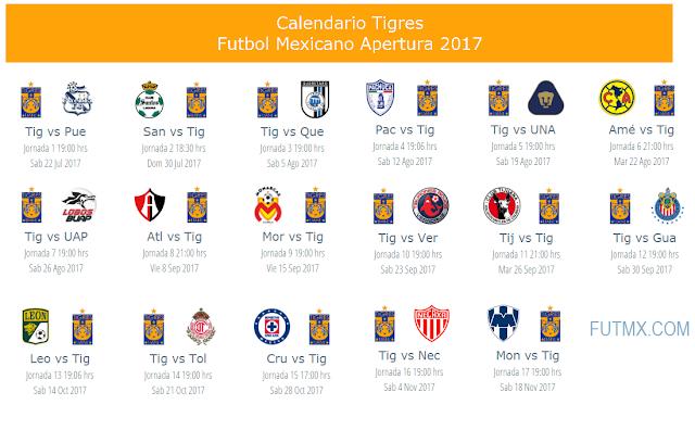 Calendario de Tigres para el apertura 2017 del futbol mexicano