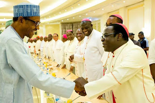 President Buhari and members of Catholic Bishops Conference of Nigeria