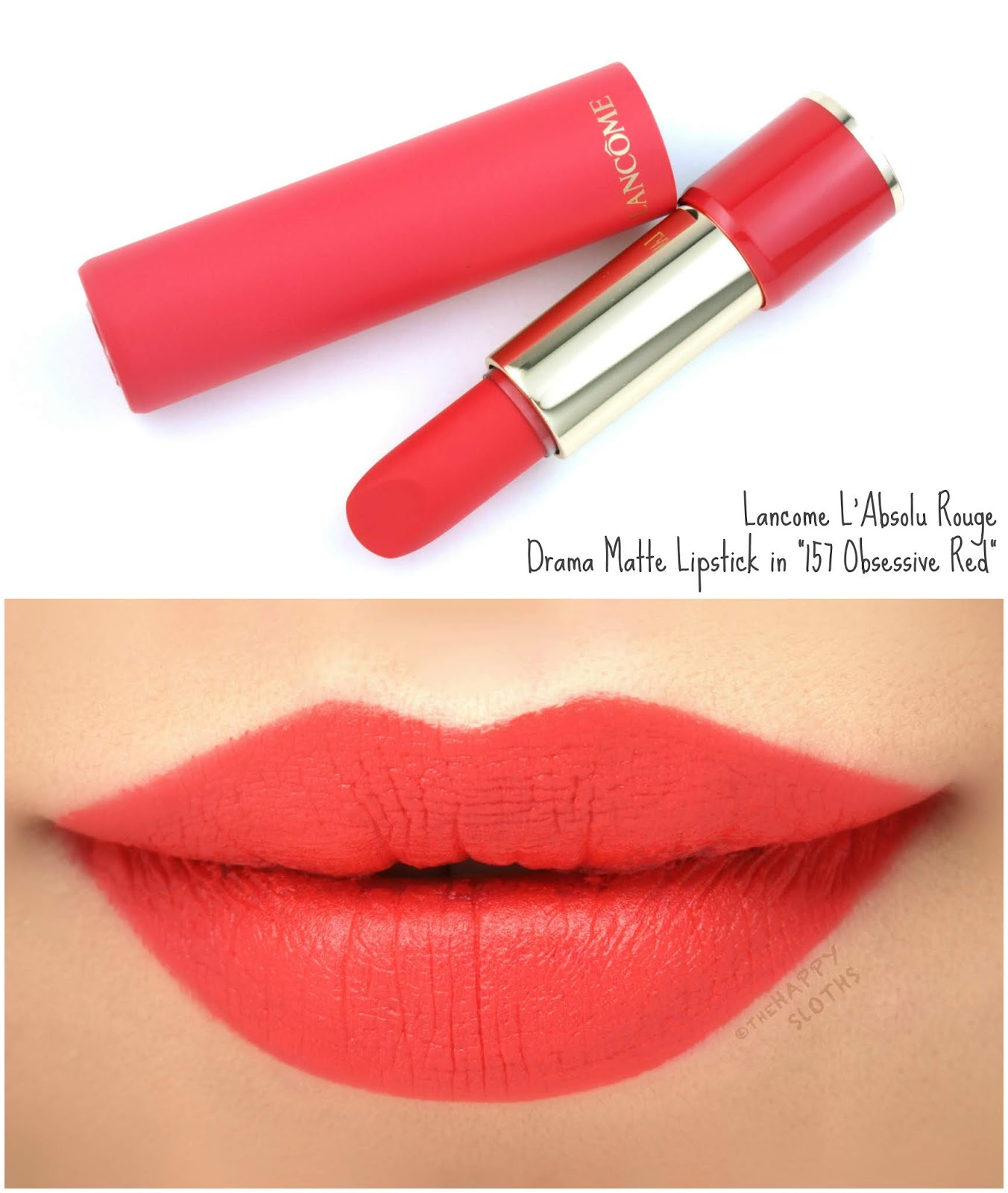 "Lancome | L'Absolu Rouge Drama Matte Lipstick in ""157 Obsessive Red"": Review and Swatches"