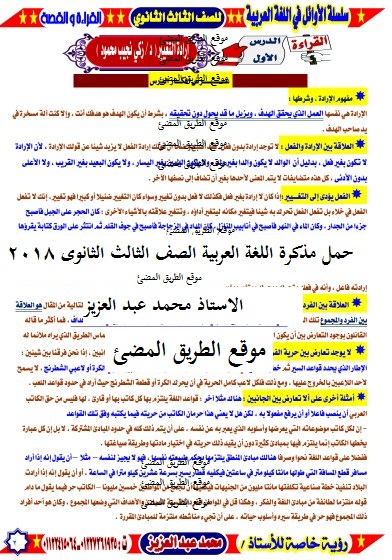 حمل مذكرة اللغة العربية الجديدة الصف الثالث الثانوى 2019 , مذكرة عربى ثالثة ثانوى , أ ,محمد عبد العزيز