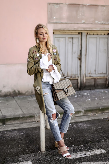 Blogger Style : Gucci Dionysus, Oversized Military, Used denim, off shoulder blouse