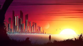 Sunset, Digital Art, Cityscape, Buildings, 4K, #6