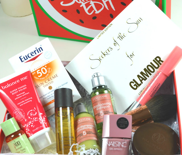 The Glamour Summer Edit Beauty Box - Latest in Beauty - Summer 2015 - Beauty box - NailsInc - Nail Polish - Nail Varnish - Gel Polish - At Home Gel Nails - No UV Gel Nails - Uptown - Swatch - Pixi - glow tonic - Pixi glow tonic - exfoliating toner - Balance me - Super toning body polish - body care - skincare - buffing body polish - Fake tan - gradual tanner - Vita Liberata - Trystal Minerals - Bronzing powder - facial tanning - Tanning make up - Tanning bronzer - Bourjois - colour boost - Peach on the beach - Lip pencil - lipstick - L'Occitane - Shampoo - conditioner - Body oil - hair oil - bath oil - Caudalie - Divine Oil - Seekers of the sun - Luxury temporary tattoos - metallic tattoos - Eucerin - SPF - sun protection - sun creme - tinted sun lotion - face SPF