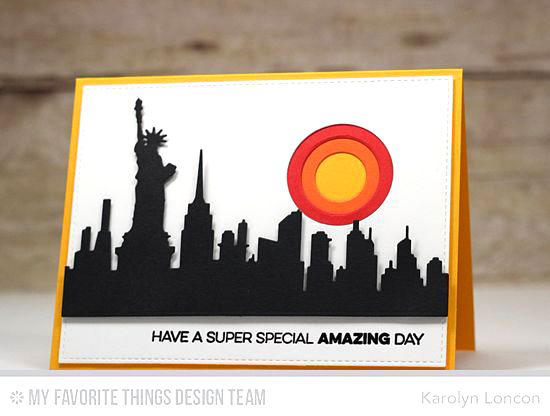 Handmade card from Karolyn Loncon featuring Amazing stamp set, and New York Skyline, Blueprints 15, Blueprints 16, Circle STAX Set 1, and Circle STAX Set 2 Die-namics #mftstamps