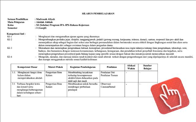 Download Terbaru Silabus Madrasah Aliyah Kelas XI Kurikulum 2013